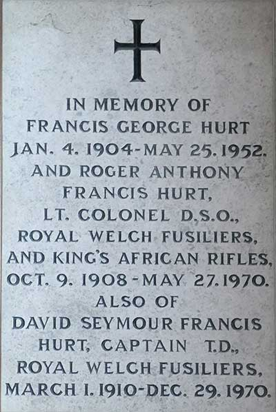 Hurt memorial in Alderwasley Church