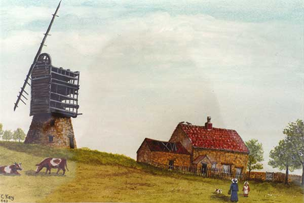 Herbert Key painting of Fritchley windmill
