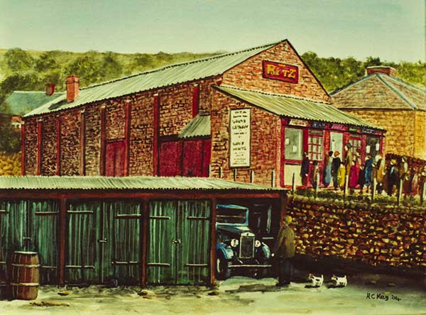 Herbert Key painting of Crich cinema