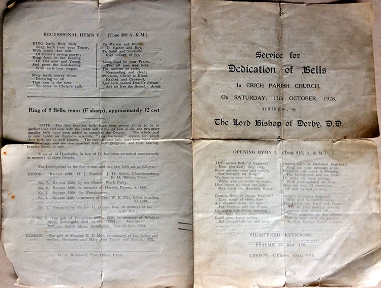 programme of dedication of church bells