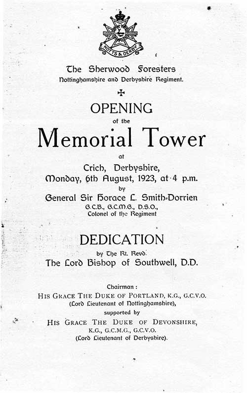 opening of Crich Memorial Tower in 1923