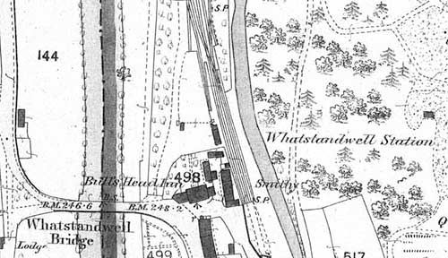 Map of 1880 showinf Whatstandwell railway station