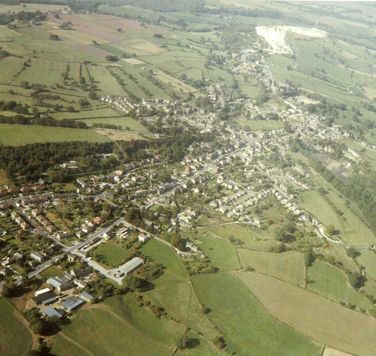 Aerial view of Crich