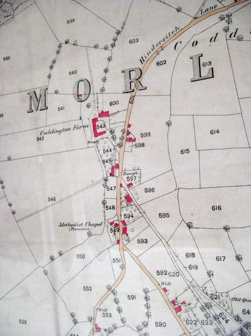 site of Burton's mill on 1880 map