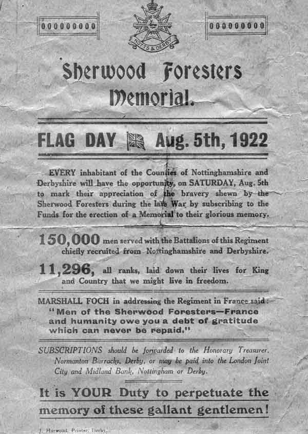 poster for Crich Stand flag day