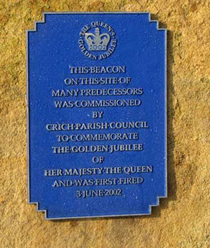 beacon plaque at Crich Stand