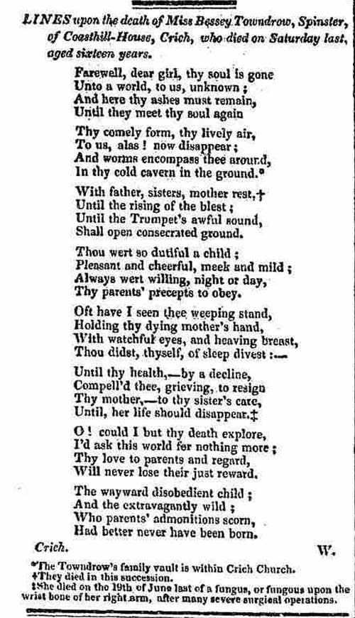 poem about Bessie Towndrow 1832