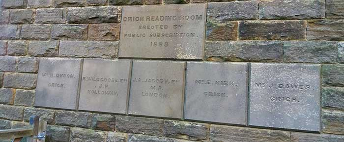 Name plaques on Crich Reading Rooms