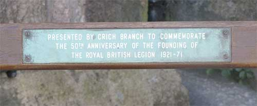 plaque on church seat at St Mary's Crich
