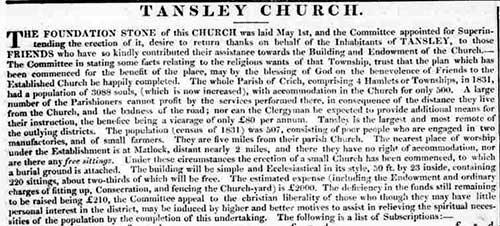 foundation of Tansley church 1839
