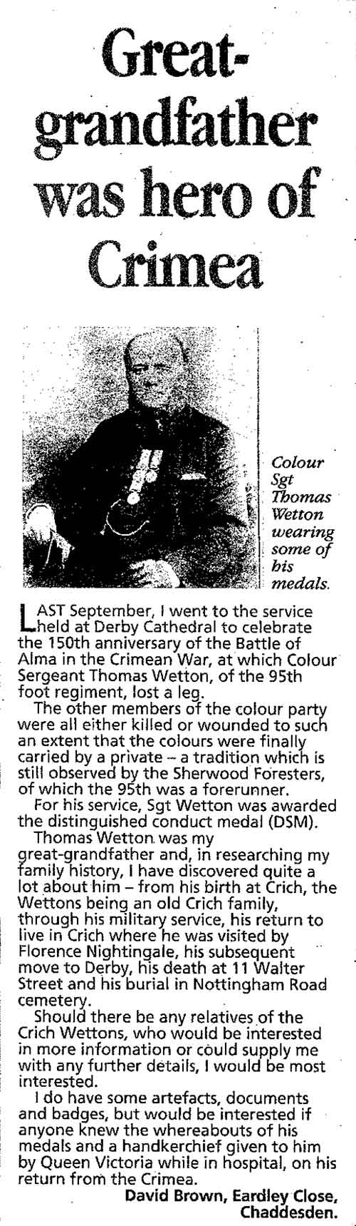 newspaper article on Thomas Wetton