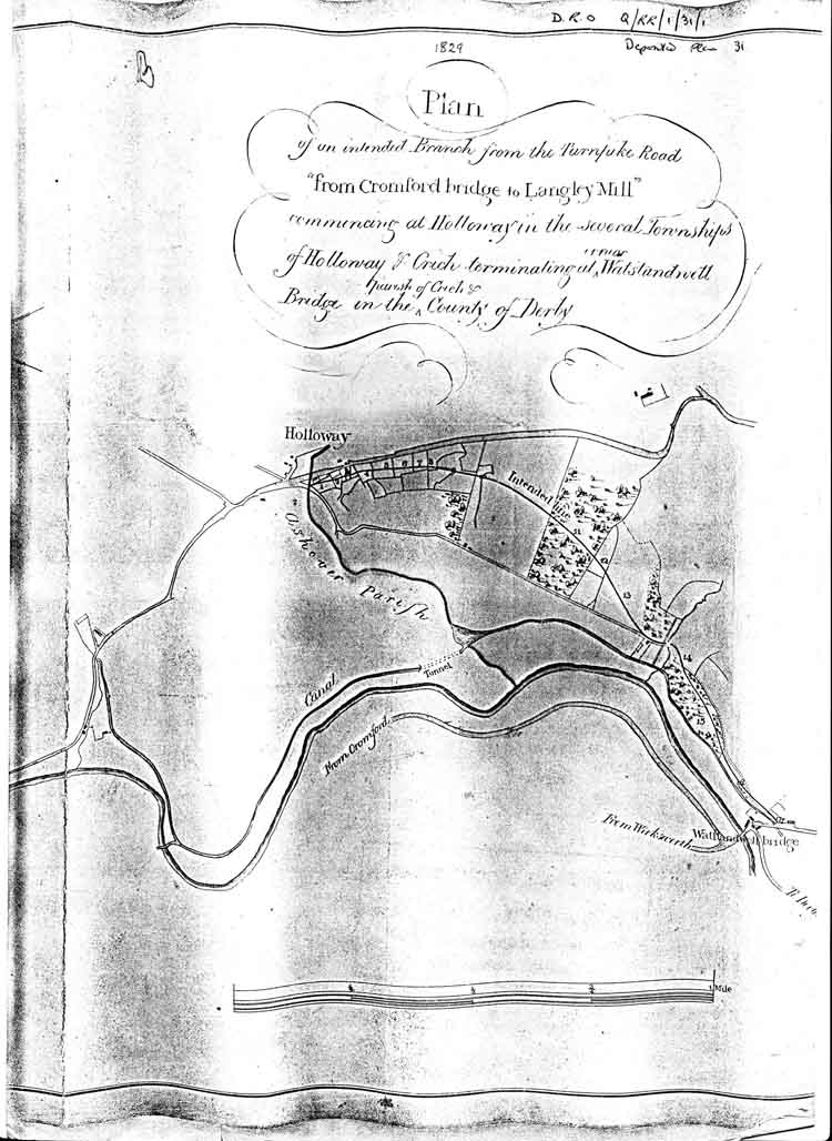 map of the 1829 turnpike from Holloway