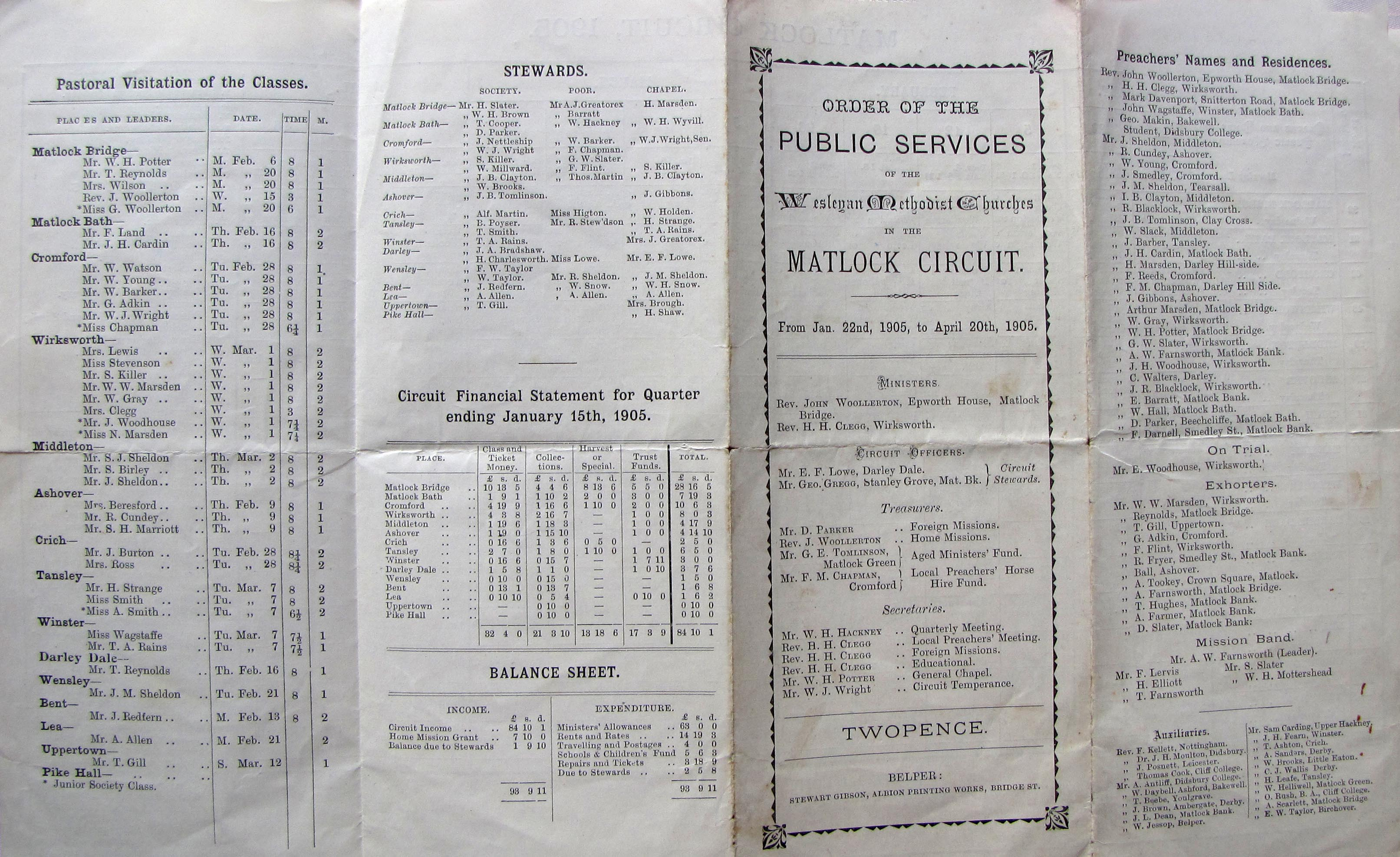 wesley circuit timetable 1905
