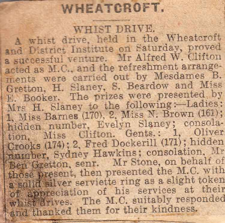 newsclipping of Wheatcroft Institute