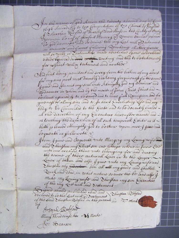 Will of Thirtsan Radford 1696