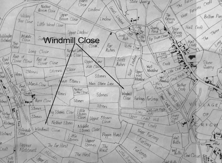 windmil names on a Crich map