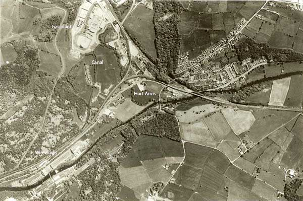 Aerial view of Ambergate wireworks in c1974